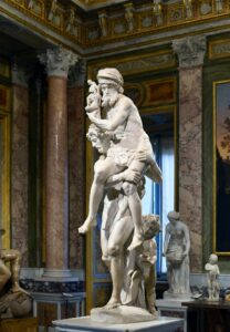 Aeneas faithfully saves his ancestors (his father), his gods (carried by his father), and his descendants (his son) from the ruin of Troy